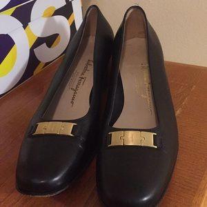 Salvatore Ferragamo black gold work dress heels 10